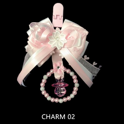Stunning Hand Craft Pram Charm/White and Pink Ribbon with Dummy
